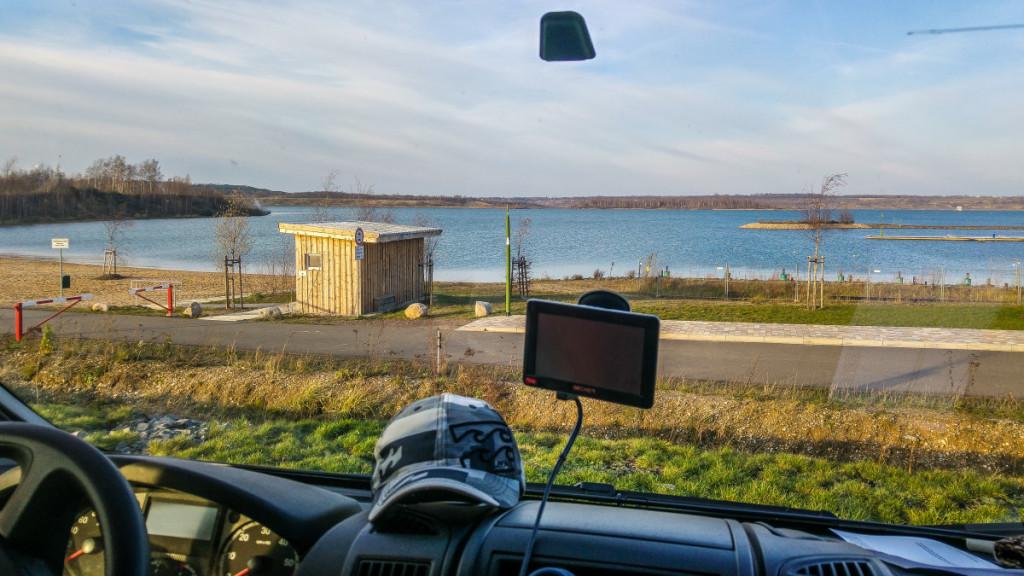 Blick vom WoMo auf den Störmthaler See