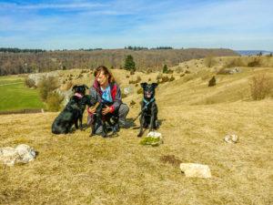 Iris mit Hunden an der Eselsburg