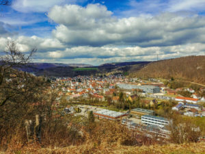 Aussicht von der Burgruine Herwartstein auf Königsbronn