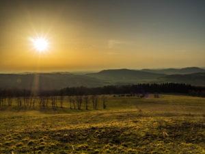 Aussicht am Ellenbogen im Sonnenuntergang